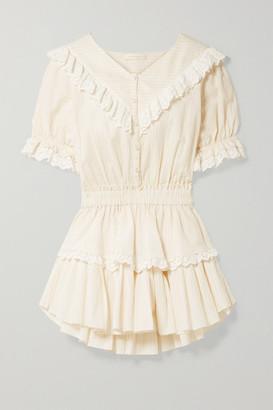 LoveShackFancy Nanette Broderie Anglaise-trimmed Striped Cotton-voile Mini Dress - Beige