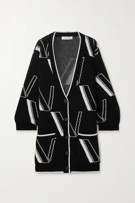 Valentino Oversized Intarsia Wool And Cashmere-blend Cardigan - Black