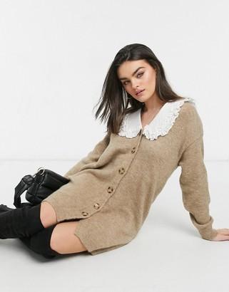 ASOS DESIGN mini cardi dress with woven collar in taupe