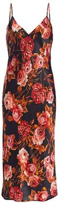 L'Agence Jodie Rose-Print Silk Slip Midi Dress
