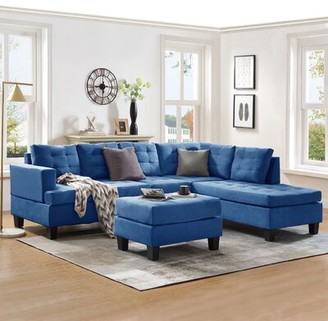 Latitude Run Versailles Right Hand Facing Sectional with Ottoman Fabric: Blue