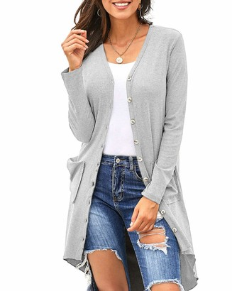 Furpazven Womens Cardigans Solid Color Long Sleeve Casual Button Knitted Sweater with Pockets