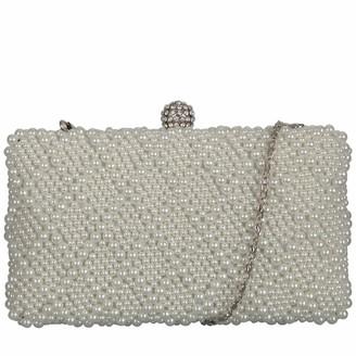 Claudia Canova Womens Hard Case-pearl Covered Diamante Clasp Clutch Off-White (Pearl)