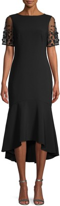 Theia Crepe High-Low Dress