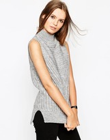 Asos Sleeveless Sweater In Chunky Knit With High Neck