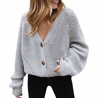 Andouy Women V Neck Button Down Long Sleeve Cable Knit Cardigan Sweaters Outerwear Best Choice Gray