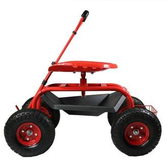 Sunnydaze Decor Rolling Garden Cart with Extendable Steering Handle, Swivel Seat and Basket - Red