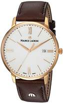 Maurice Lacroix Men's 'Eliros' Swiss Quartz Gold-Tone and Leather Casual Watch, Color:Brown (Model: EL1118-PVP01-112-1)