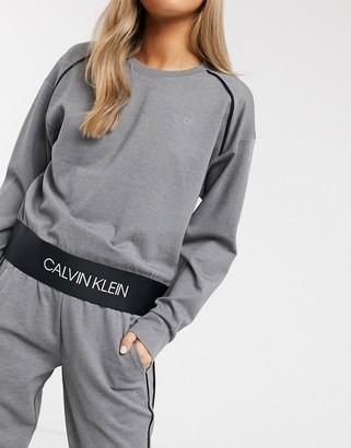 Calvin Klein pullover long sleeve top in medium grey heather