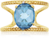 Ice 3 2/5 CT TW Blue Topaz 14K Gold-Plated Sterling Silver Adjustable Ring with Diamond Accents