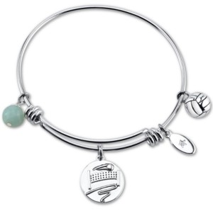 """Unwritten Kiss My Ace"""" Volleyball Charm Adjustable Bangle Bracelet in Stainless Steel"""
