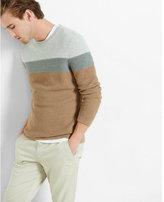 Express mixed texture color block crew neck sweater