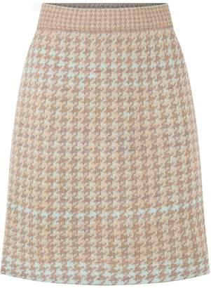 Studio Myr Knitted Knee Length Pencil Skirt In Pieds-De-Poule Pattern Tweed-Fair