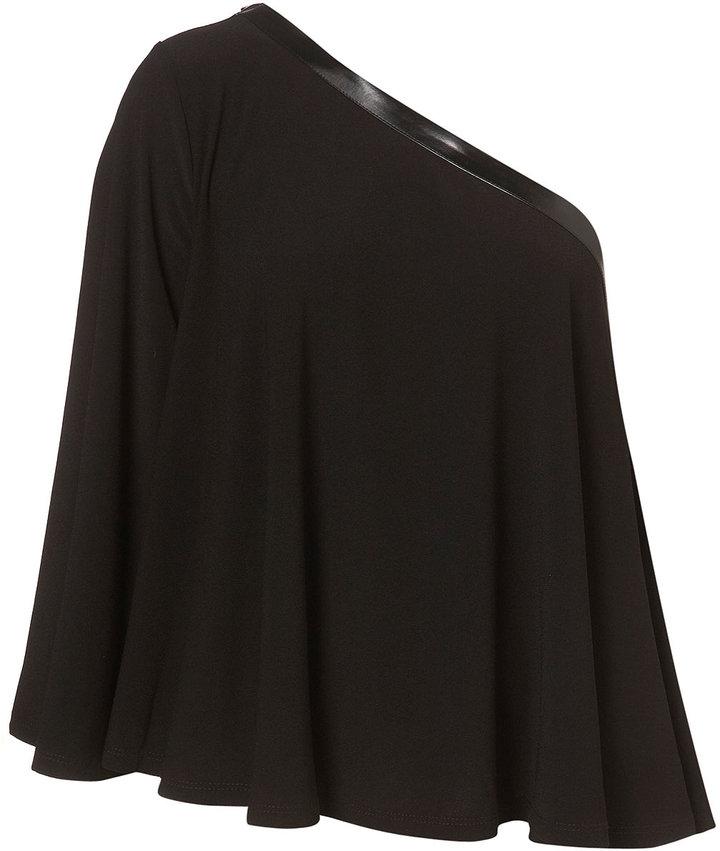 Topshop Black One Shoulder Faux Leather Trim Top