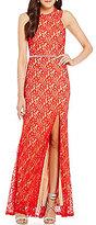 Jodi Kristopher Cut Out Shoulders High Neck Long Lace Dress