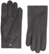 Alexander McQueen Textured-suede Gloves - Gray