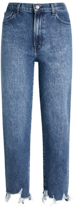 J Brand Frayed Jules High-Rise Straight Jeans