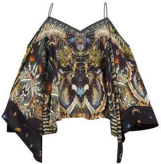 Camilla Maternal Instinct Off-the-shoulder Silk Blouse - Black Print