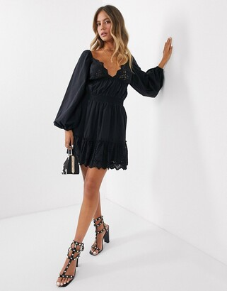 Asos Design DESIGN sweetheart broderie mini dress with elasticated waist and long sleeves-Black
