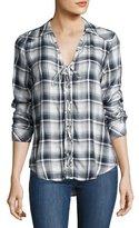 Paige Clea Plaid Lace-Up Shirt, Multicolor Pattern