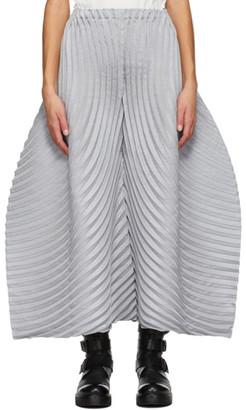 Issey Miyake Grey Wool Circle Pleats Trousers