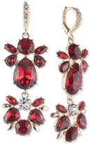 Givenchy Gold-Tone Red Crystal Cluster Double Drop Earrings