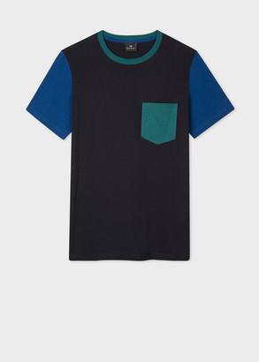 Paul Smith Men's Navy Colour-Block Organic Cotton T-Shirt
