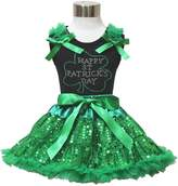 Petitebella Happy St Patricks Day Black Shirt Bling Sequin Pettiskirt Girl Cloth 1-8y (4-5year)