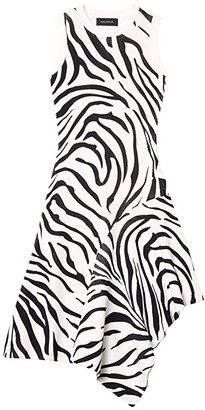 Yigal Azrouel Fully Fashioned Sleeveless Zebra Print Handkerchief Dress (Zebra) Women's Clothing