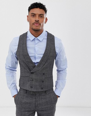 Harry Brown slim fit textured gray check suit vest