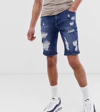 Asos DESIGN Tall skinny denim shorts in dark wash with heavy rips