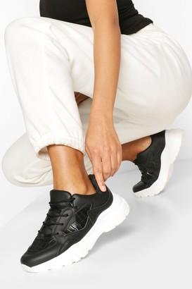 boohoo Croc Panel Chunky Sneakers