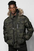Boohoo Camo Parka With Fur Trim Hood