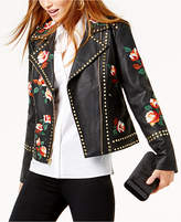 INC International Concepts Anna Sui Loves Embroidered Studded Faux-Leather Jacket, Created for Macy's