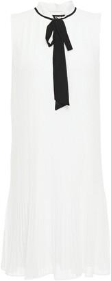 DKNY Pussy-bow Plisse-georgette Mini Dress