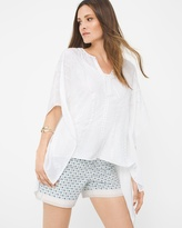 White House Black Market Embroidered Poncho Top