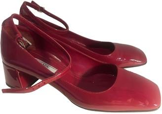 Prada Mary Jane Burgundy Patent leather Heels