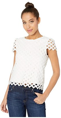 Milly Lattice Embroidery Top (White) Women's Clothing