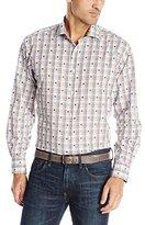 Thomas Dean Men's 1 Button Spread Collar Dobby Funky Check Shirt