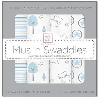 Swaddle Designs X-Large Cotton Muslin Swaddle Blankets, Blue Forest, Set of 4