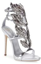Giuseppe Zanotti Crystal-Embellished Metallic Leather Wing Sandals