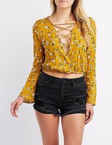 Charlotte Russe Floral Lace-Up Surplice Top