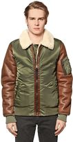 Alpha Industries Faux Leather & Nylon Aviator Jacket