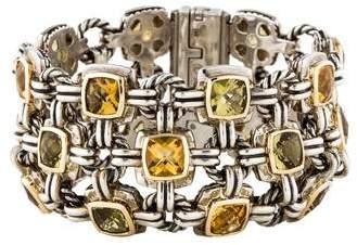 David Yurman Citrine & Peridot Three-Row Renaissance Bracelet
