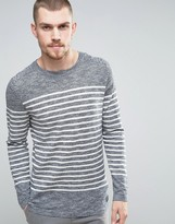 Selected 100% Cotton Crew Neck Knitted Stripe Sweater