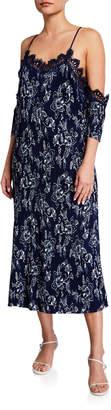Moon River Printed Cold-Shoulder Maxi Dress
