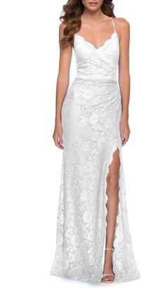 La Femme Strappy Back Lace Gown