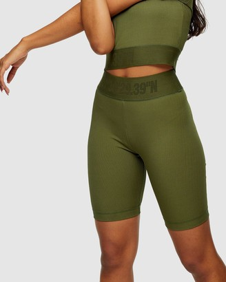 Topshop Women's Green High-Waisted - Active Ribbed Sports Cycling Shorts - Size XS at The Iconic