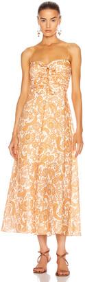 Zimmermann Peggy Off Shoulder Tie Dress in Orange Paisley | FWRD