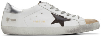 Golden Goose White and Beige Superstar Sneakers